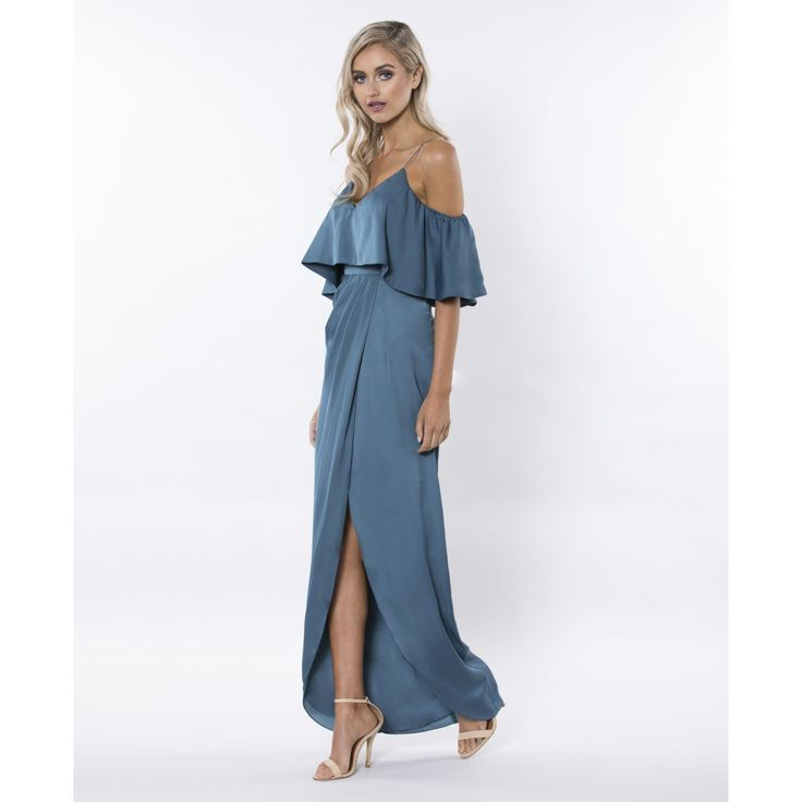 Bariano - You And Me Off Shoulder Draped Gown