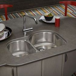 """Elkay Dayton 31.25"""" x 20"""" Double Bowl with Rounded Edges Undermount Kitchen Sink 