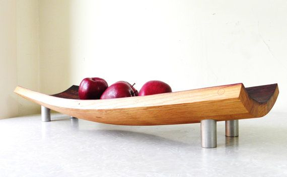 upcycled wine barrel crafted into serving platter.  My brother makes these and sells on etsy.com