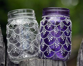 Lot de 6 Bohème marocain Mason Jar teinté par HennaArtDiaries