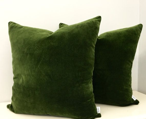 Moss Green Cotton Velvet Pillow Cover, Green Pillows, Decorative Pillows, Green Velvet Cushion Couch Sofa Covers, Green Velvet Throw Pillows