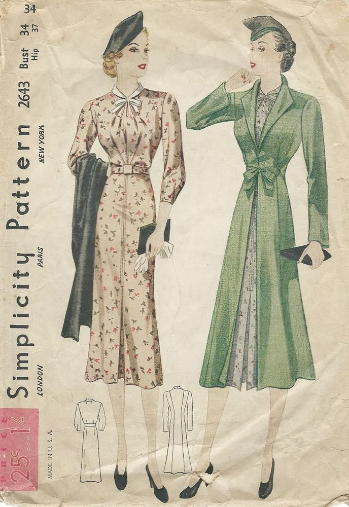 Vintage 1930\'s Long Straight Dress and Coat Redingote Sewing Pattern ...