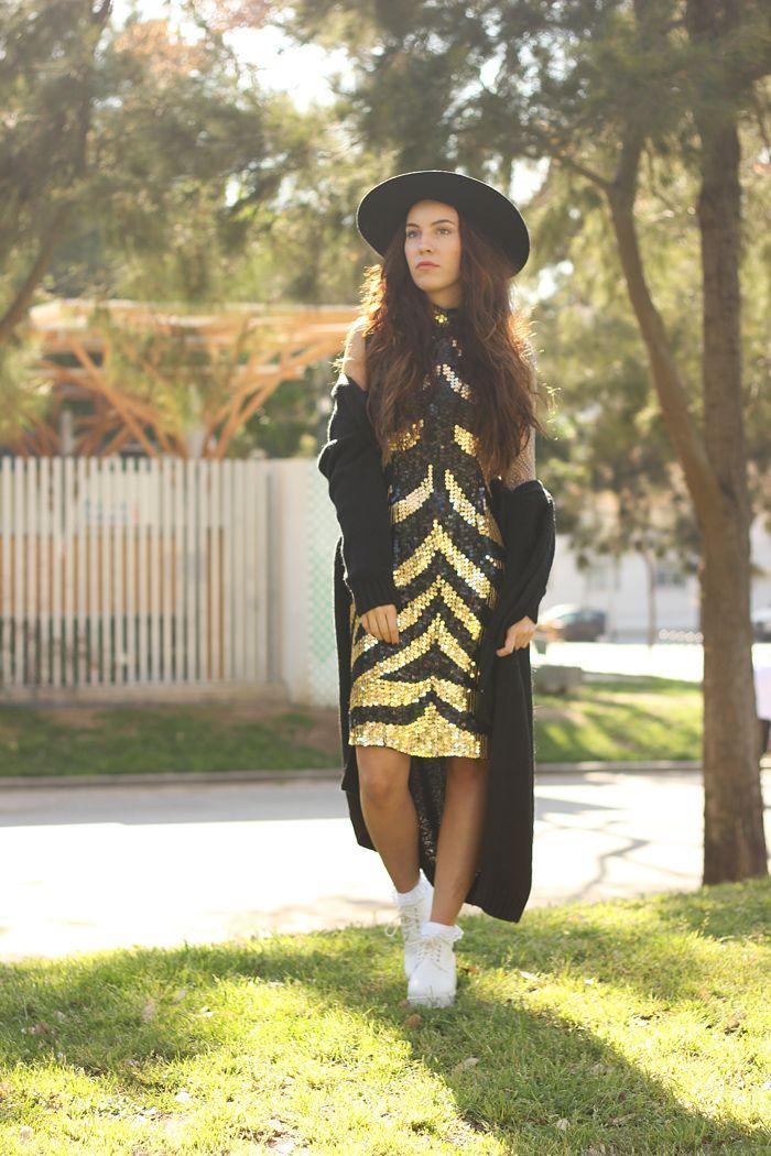 WST Black and Gold Sequin Dress on Stylegenda