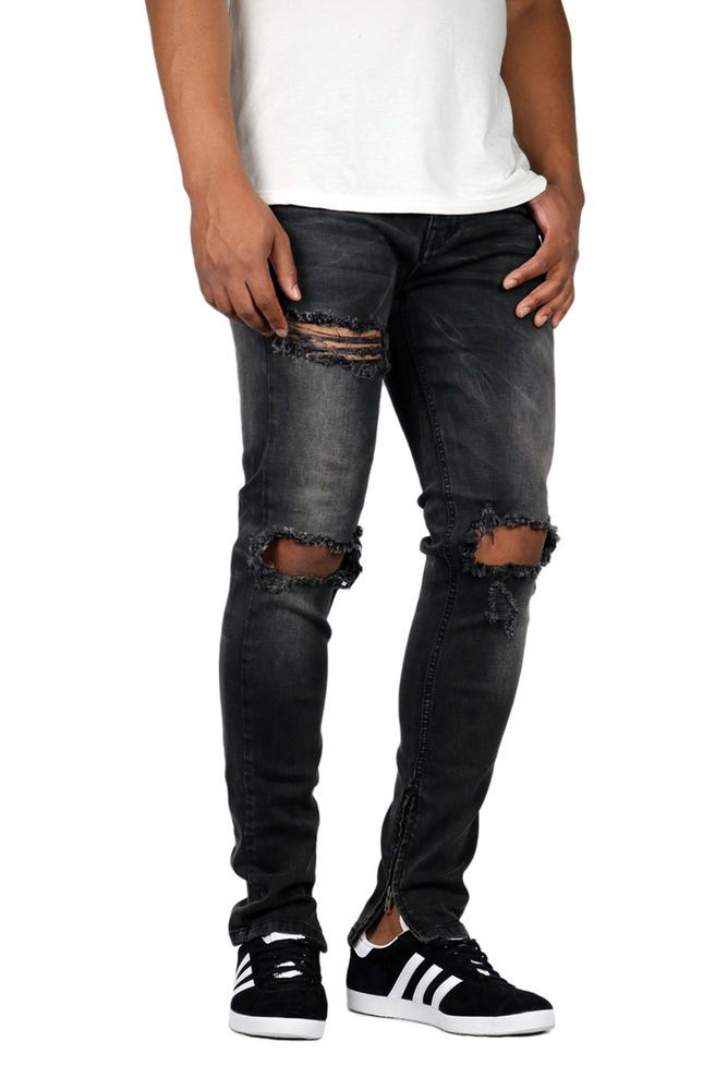 945462d1 KDNK Men's Destroyed Knee Ankle Zip Jeans Kayden K [4174_Dk M.Grey]  #fashion #clothing #shoes #accessories #mensclothing #jeans (ebay link)