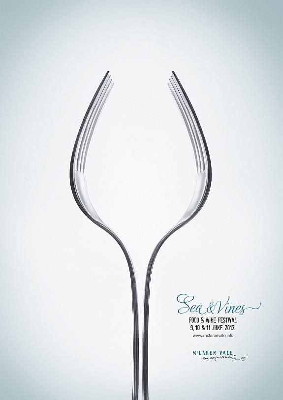 Food & Wine Festival. Two forks in the shape of a wine glass, goblet. simple. clever.