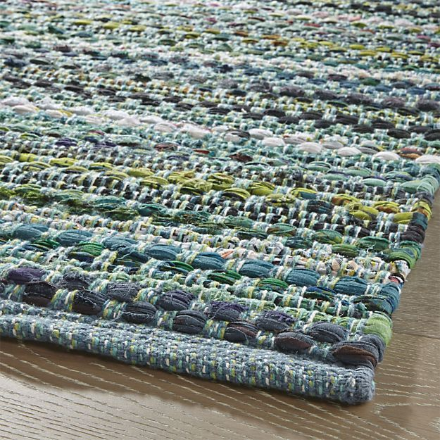 Pinstripe Jade Green Cotton 2.5'x6' Rag Rug Runner. in Rug Runners | Crate and Barrel