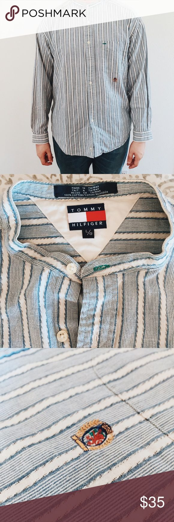 Vintage Tommy Hilfiger Button Down Great condition! Mandarin collar adding an funky spin on your basic button down! Tommy Hilfiger Shirts Casual Button Down Shirts