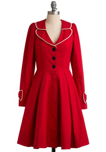 in one word: adorable: Cute Coats, Dresses, Red Jackets, Vintage Coats, Trench Coats, Red Coats, Heart Buttons, Retro Vintage, Modcloth Com