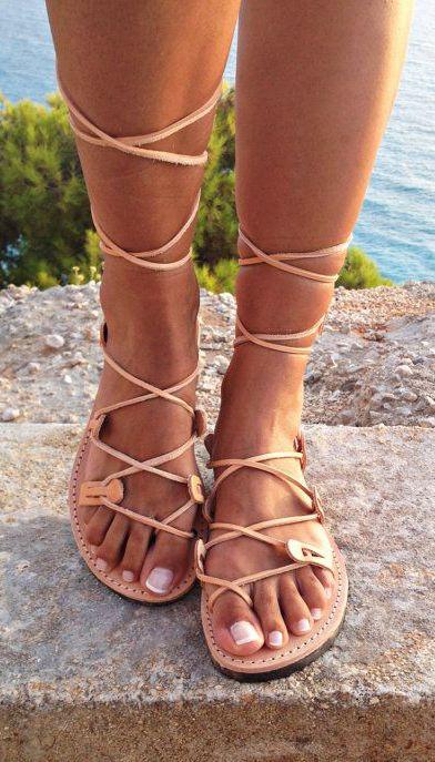 Greek lace up sandals