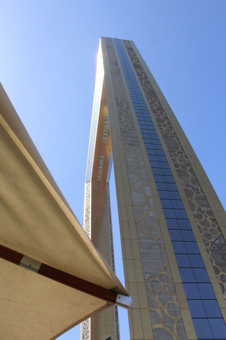 Looking up at the Dubai Frame in Dubai. Click to read my article about it. #dubaiframe #dubai