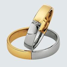 Verighete cu briliante, din aur alb cu aur galben.  Cu interiorul bombat, pentru un confort maxim la purtare