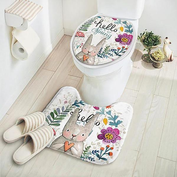 Rabbit Pattern Bathroom Rug Set 2 Pcs Set Of Non Slip Pedestal Rug