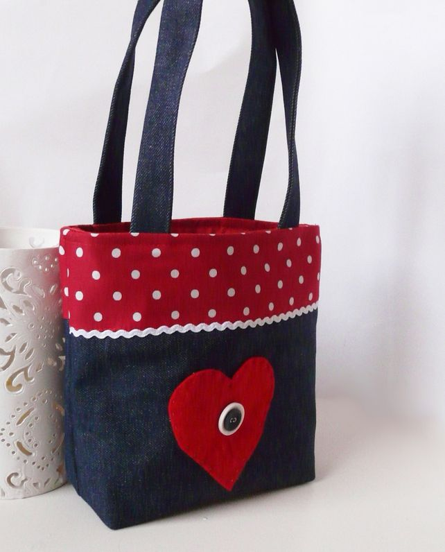 Girls Denim Tote bag with flower design