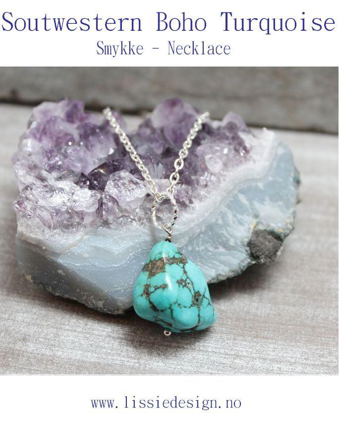 Boho Turquoise Smykke - Necklace www.lissiedesign.no www.lissiedesign.com