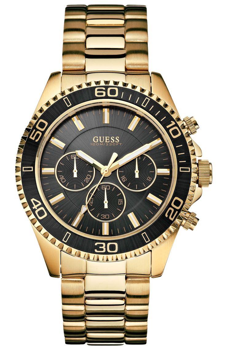 Massivt herreur i guld og sort - Guess Chaser Gold W0170G2