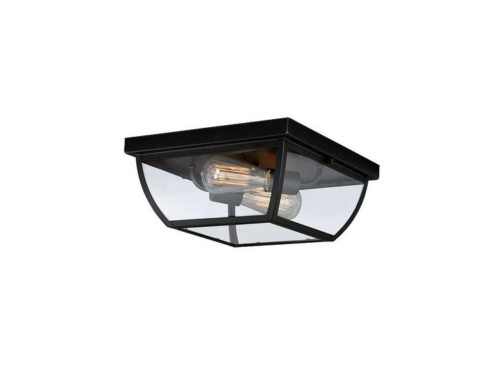 Vaxcel Lighting T0212 Granville 2 Light Outdoor Flush Mount Ceiling Fixture with Oil Burnished Bronze Outdoor Lighting Ceiling Fixtures Flush Mount