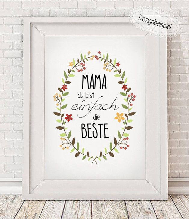 Für die beste Mama zum Muttertag, Poster mit Spruch / gift for Mother's Day, art print made by Hugs'n'Cups via DaWanda.com