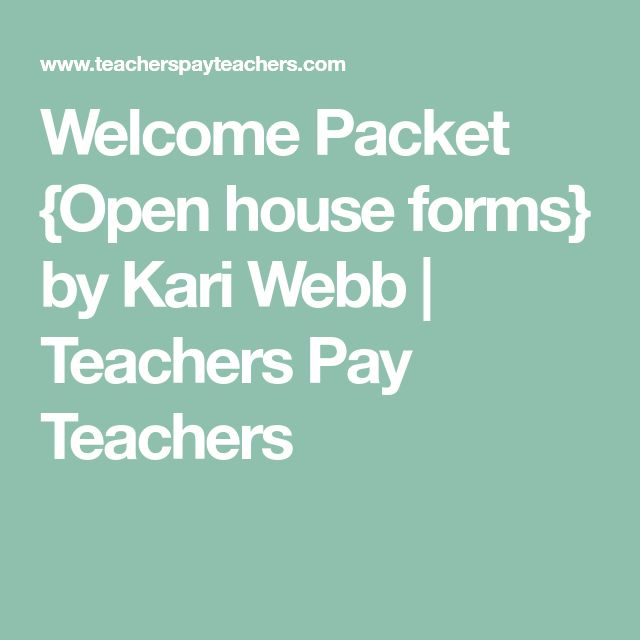 Welcome Packet {Open house forms} by Kari Webb | Teachers Pay Teachers
