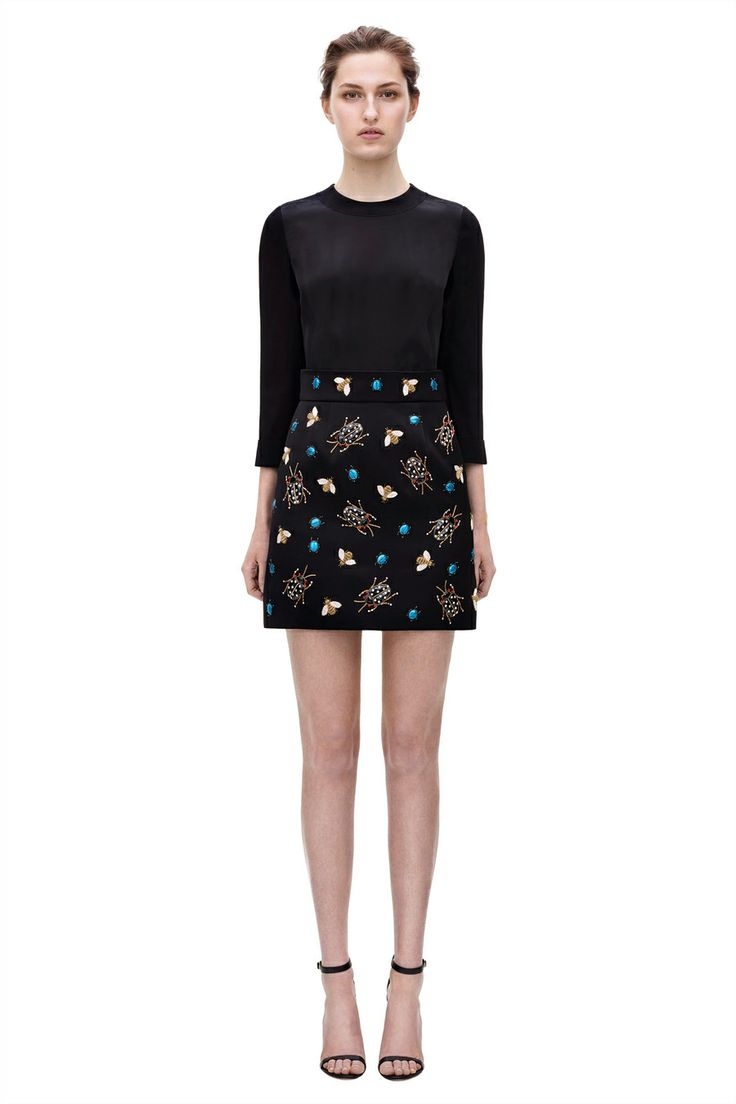 Embroidered skirt mini from AW2014 Victoria, Victoria Bekcham's collection. #BoFCareers #style #fashion #luxury