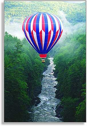 Fly in a hot air balloon over Quechee Gorge in Vermont www.discoververmontvacations.com