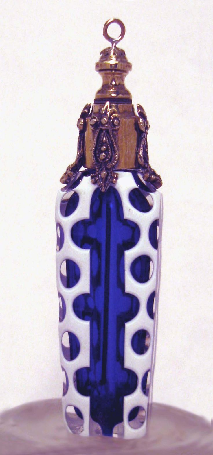 "Antique Perfume Bottle ~ Sweetest little (2 1/2"" high) French Chatelaine in unusual Polka Dot. Cased with a glass tipped dauber that matches the blue."