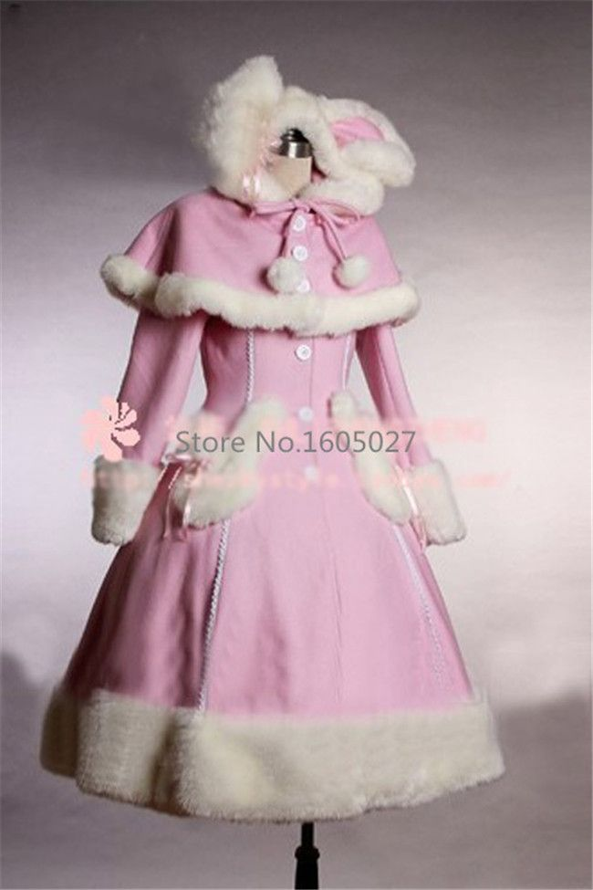 Cheap coated plywood, Buy Quality dress embellishment directly from China dress shoes tall women Suppliers:  Pink Lolita Woolen Coat Gothic Punk Girl Winter Bunny Ears Long Coat Custom-made Any Size Party Fashion Dress NEW