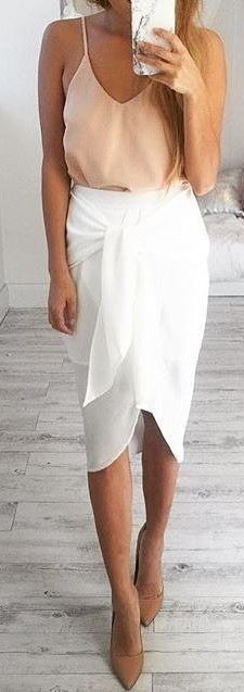 Nude Silk Cami + White 'Tie Down' Skirt                                                                             Source