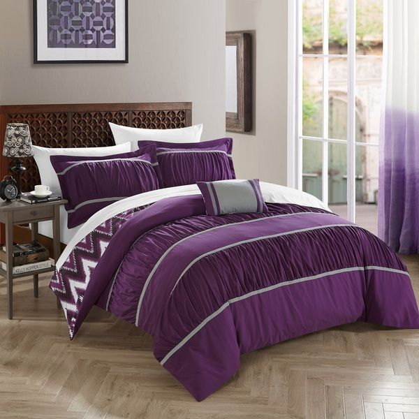 chic home 8piece brooks bedinabag purple comforter set by chic home