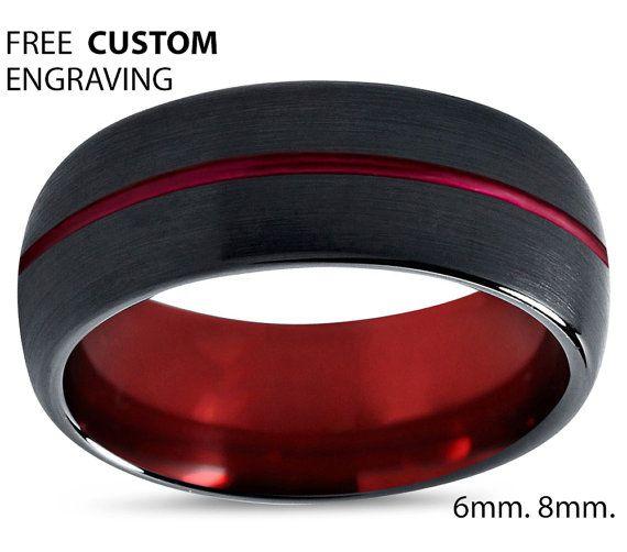Anillo de tungsteno anillo para hombre negro banda roja de la boda tungsteno carburo de tungsteno 8mm tungsteno hombre hombre mujer aniversario de boda juego  B. •:*¨`*:•E.•:*¨`*:•L.•:*¨`*:•L.•:*¨`*:•Y.•:*¨`*•:*¨`*:•S.•:*¨`*:•S.•:*¨`*:•A  Venda de boda anillo de lujo negro del carburo de tungsteno hombres confort ajuste y acabado. En cuanto a la durabilidad del carburo de tungsteno anillos son de primera clase. Carburo de tungsteno es aproximadamente 10...
