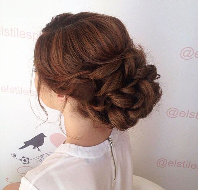 Low Bun Textured Updo Messy Loose Curls Bridal Wedding