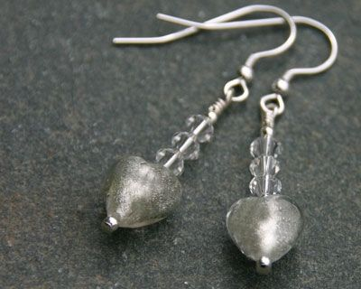 Glass heart earrings with Swarovski Crystals  - Crystal