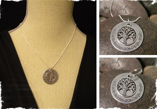 $16.99 Hand-Stamped Family Tree Necklace OR Key Chain - Perfect for Mother's Day! at VeryJane.com