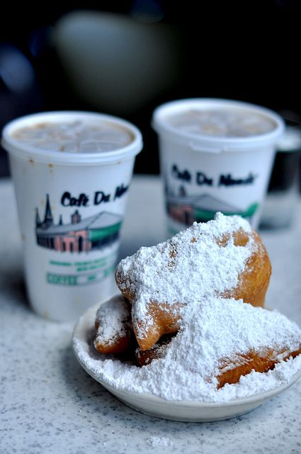 Cafe Du Monde, a New Orleans must-do ~ The beignets are warm and yummy and you will end up wearing a dusting of the powdered sugar! The coffee is the best!