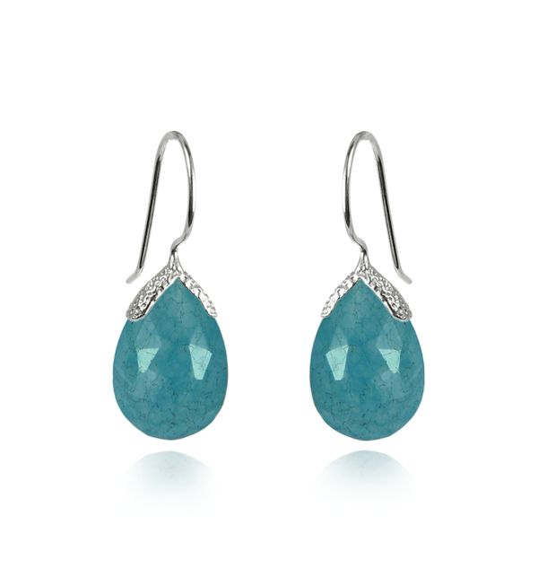 Silver Blue Quartz Drop Earrings