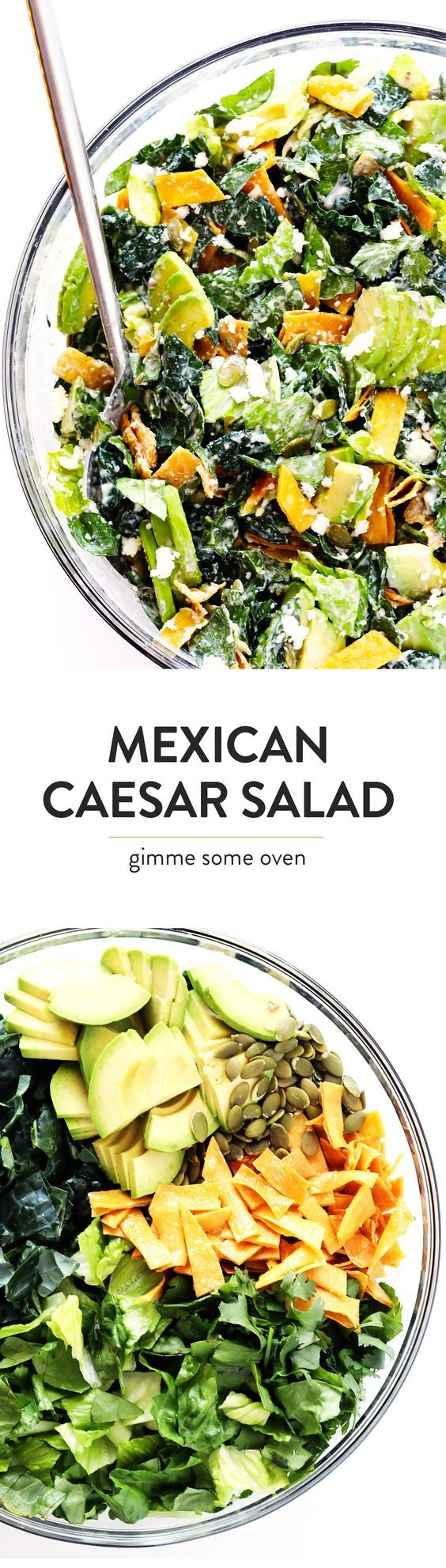 This Mexican Caesar Salad recipe is made with a lighter Greek Yogurt Caesar Dressing, crispy tortilla strips, cotija cheese (or queso fresco), pepitas, and fresh avocado...and it tastes SO fresh and flavorful and delicious!   gimmesomeoven.com