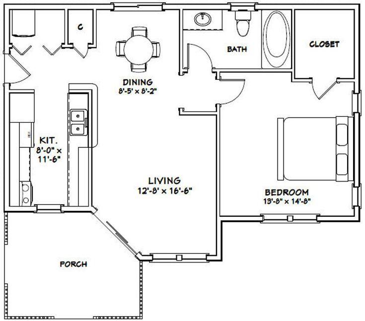 36x26 House -- 1-Bedroom 1-Bath -- 820 sq ft -- PDF Floor ...