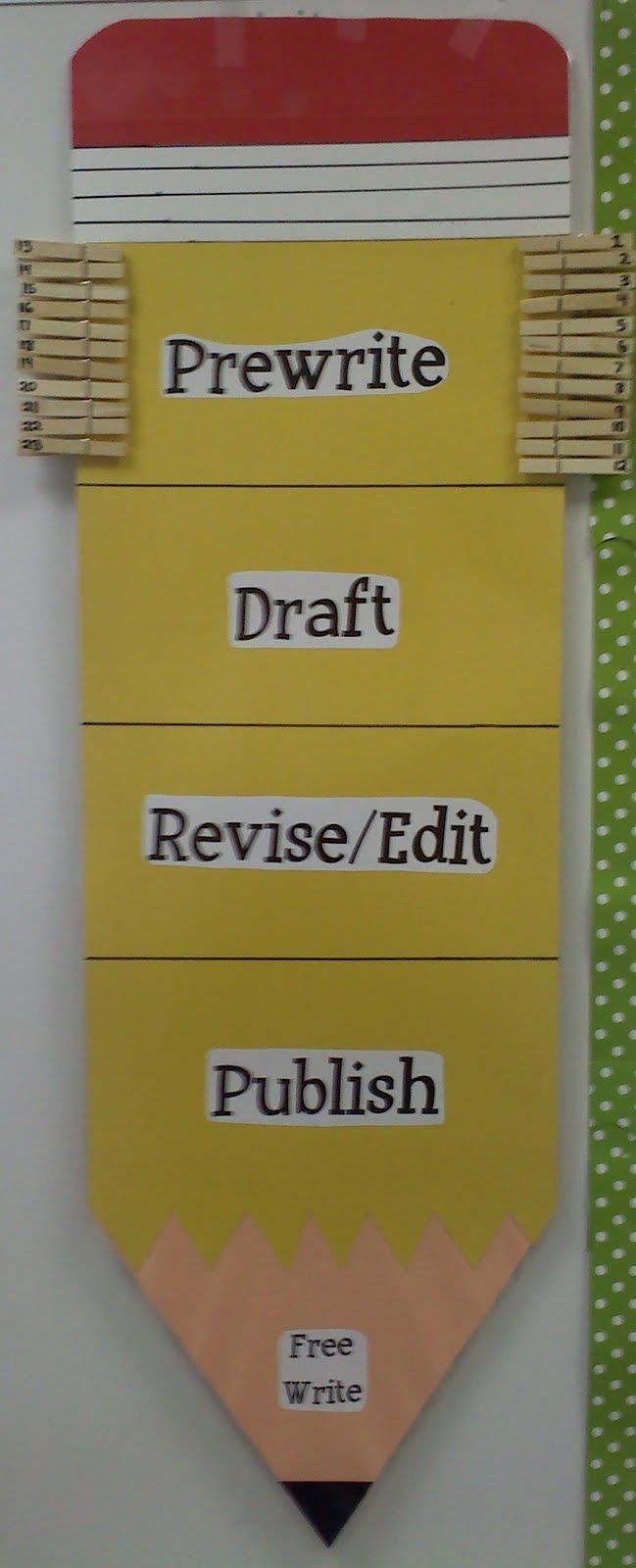 I want to put one of these in my room, but with a folder behind each title.  In the folders I would put various blank outlines, special drafting paper, peer editing sheets, editing mark cards, etc.