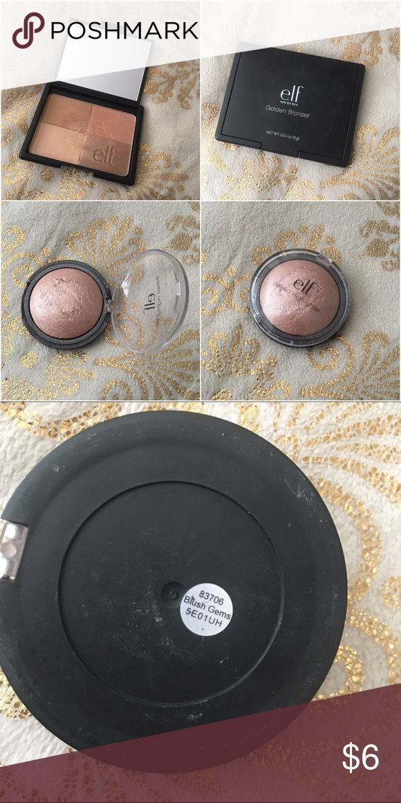 Elf Bronzer & Highlighter Bundle Elf Bronzer & Highlighter Duo. One golden bronzer and one blush gems highlight. Both in good condition, worn a couple times. No trades. Make me an offer! More often then not I'll accept! ELF Makeup