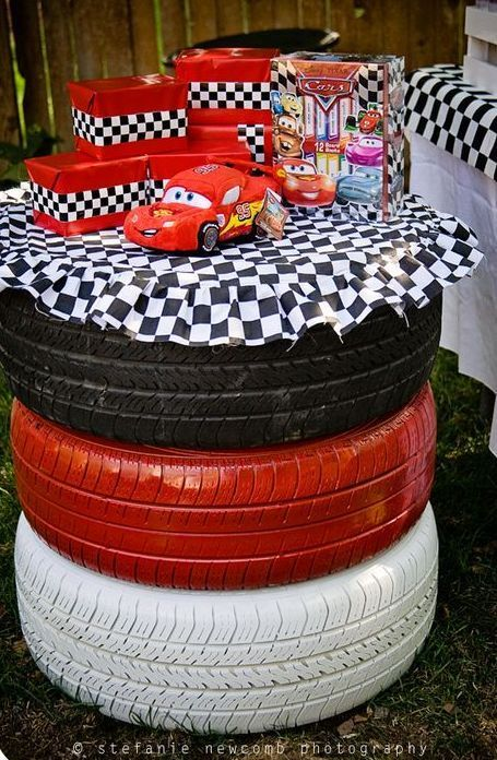 Disney Cars birthday used tire idea.  See more birthday parties for kids at www.one-stop-party-ideas.com