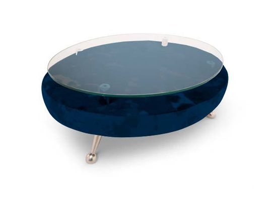 Low Table by Adrenalina  Table made out of metal, glass and fabric, elegant, ultramodern, dark blue with a glass top.  My Italian Living