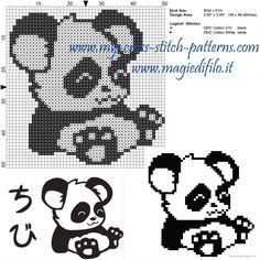 Little panda cross stitch pattern