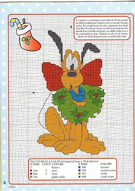 Disney Christmas Cross Stitch Patterns | cross stitch pattern on the Christmas stocking - free cross stitch ...
