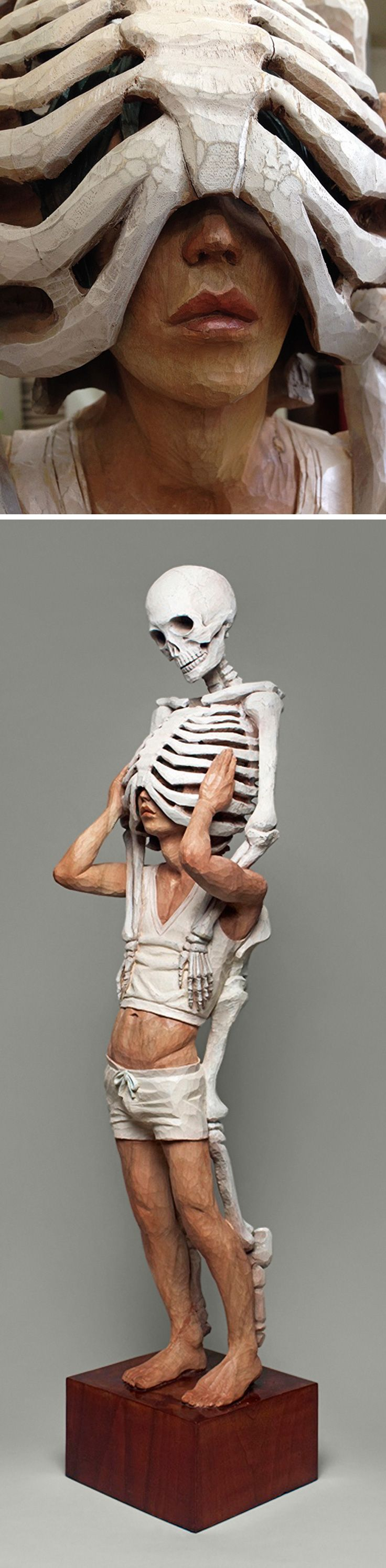 Yoshitoshi Kanemaki, human anatomy paint on Camphor wood sculpture. #skeleton