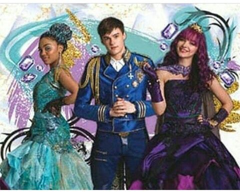 Dove Cameron as Mal China Anne MicClain as Uma and Mitchell Hope as King Ben