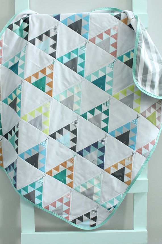 baby quilt blue teepee southwest bohemian by PETUNIAS by PETUNIAS