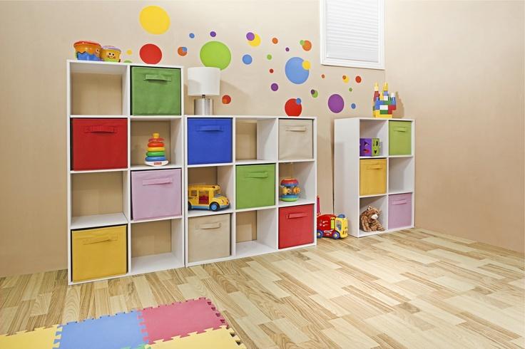 Organizador multiusos blanco con gavetas de colores. Organizador multicolor para juguetes. Decoración para recámara infantil.