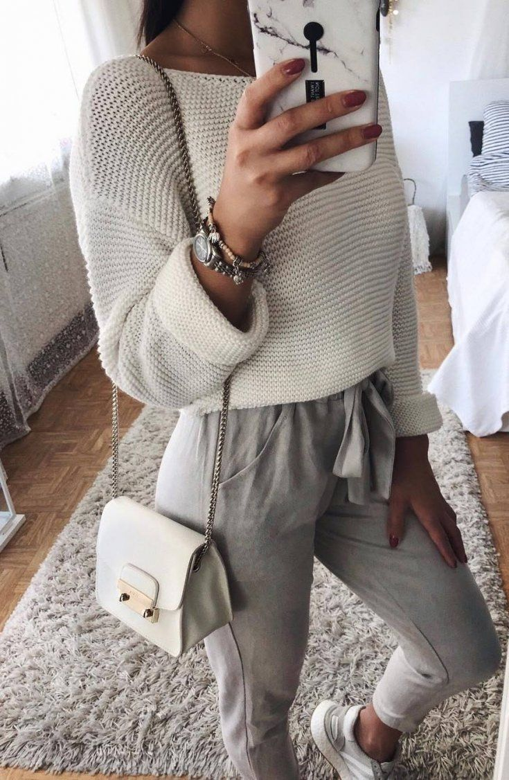 cute autumn outfit_white pullover + bag + pants + sneakers – #fear #pants #cute #outfit #outfitwhite