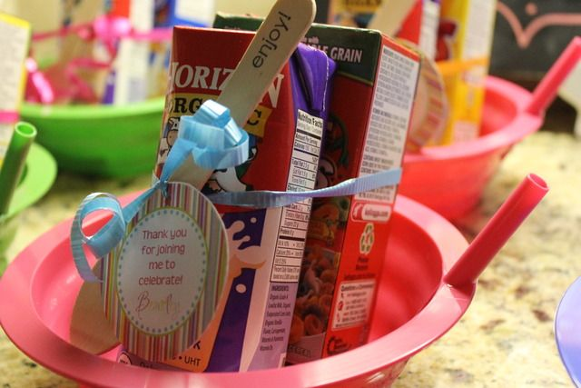 Sleepover party favors, cereal bowl w/straw, mini cereal, milk and spoon