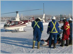 I found it interesting to see that this helicopter landed on the ice. It's amazing that we can now provide paramedic services to such remote locations as this. I wonder what happened in order for the helicopter to be dispatched to such a place.