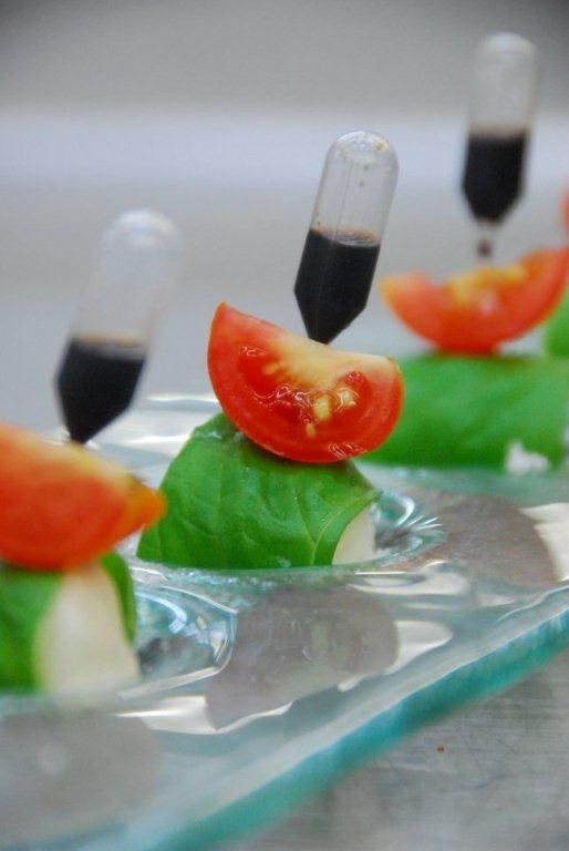 Pipette with oil/vinegar... Mozarella/basil/tomato